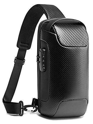 SMONT ボディバッグ メンズ 斜めがけ カーボンレザー ワンショルダーバッグ 大容量 完全防水 盗難防止 USB充電ポート iPad収納可能 ブラック