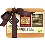 Nuts Gift Box – Cashews, Almonds, and Peanuts - Beer and Bourbon Flavored Nuts - Beautiful Tin Gift Box with Bow – 1lb