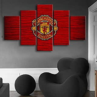 HOPE003 Canvas Painting 5 Piece Framed Modern Fashion Five Wood Grain Manchester United Banner Sports Wall Poster Football Oil Painting Home Decoration Prints Picture
