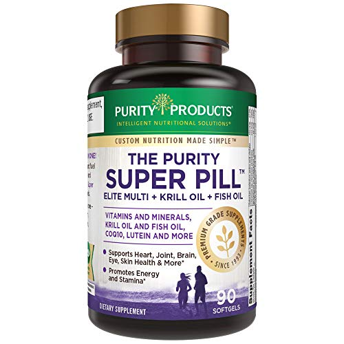 Purity Super Pill - Purity Products - Elite Multi + Krill Oil + Fish Oil - Vitamins + Minerals, CoQ10, Lutein - 6 Advanced Formulas in 1 Supports Healthy Brain, Joints, Heart + More - 90 Mini Softgels