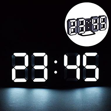 EVILTO LED Digital Alarm Clock with Night Light, 3D Number Style Modern Wall/Mounted/Desk/Shelf Clocks with Adjustable Brightness, Snooze Function for Home Bedside Office School (White/Black)