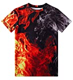TUONROAD 10-12Y Youth Girls Shirts Boys Black Red 3D Tees Hilarious Cool Short Sleeve Undershirt for Spring Summer Fall Winter School Beach Halloween