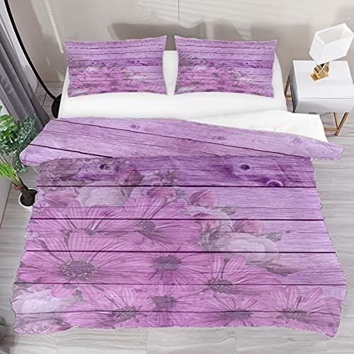 Gerbera - Juego de funda de edredón de madera lila, juego de cama de tres piezas, tamaño completo con 2 fundas de almohada y 1 funda de edredón para el hogar, mujeres y hombres