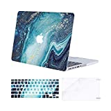MOSISO Compatible with MacBook Pro 15 inch Case with Retina Display (model: A1398, Older Version, 2015 - end 2012 Release), Plastic Creative Wave Marble Hard Shell&Keyboard Cover&Screen Protector,Blue