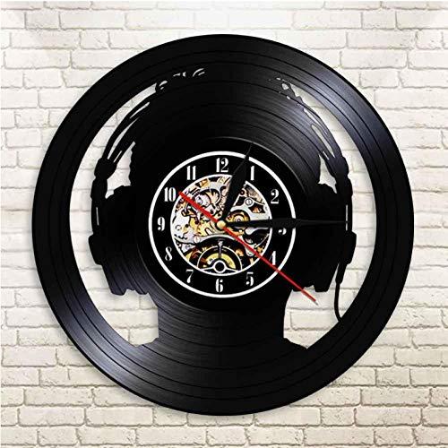 Hopeyard Audio Slave Koptelefoon Dj Wall Art Muur Klok Muziek Liefhebber Silhouette Vinyl Record Klok Voor Degenen die Cant Live Zonder Muziek