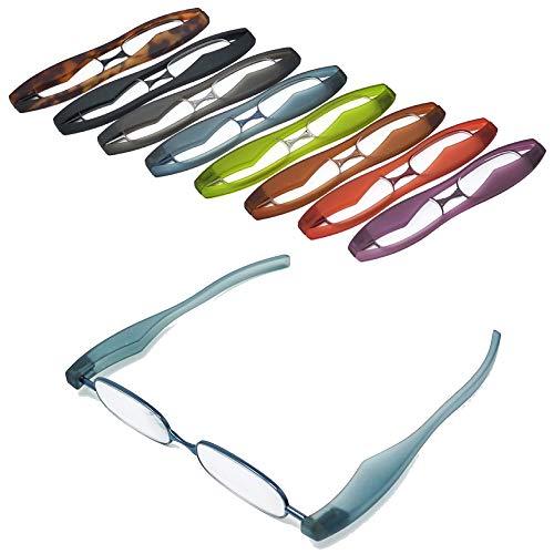 【ポッドリーダー スマート】超軽量 コンパクトな折りたたみ式 老眼鏡 8色 +1.0~+3.0 胸ポケットに入るサイズ Podreader (+1.0, ブルー)