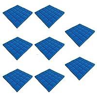 8枚 遮音スポンジ 防音材 防音シート アコースティックフォームパネルストップ吸収スポンジスタジオ (ブルー)