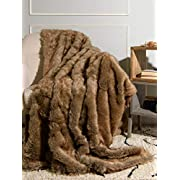 Best Home Fashion Coyote Faux Fur Throw Blanket - 58