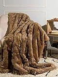 Best Home Fashion Heavyweight Super Soft Luxury Faux Fur Throw Blanket - 58' W x 60' L - Coyote