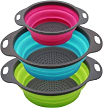 Qimh Collapsible Colander Set of 3 Round Silicone Kitchen Strainer Set - 2 pcs 4 Quart and 1 pcs 2 Quart- Perfect for Drai...