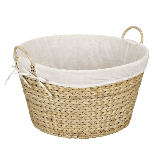 Household Essentials Natural ML-6667N Round Wicker Laundry Basket Hamper with Liner