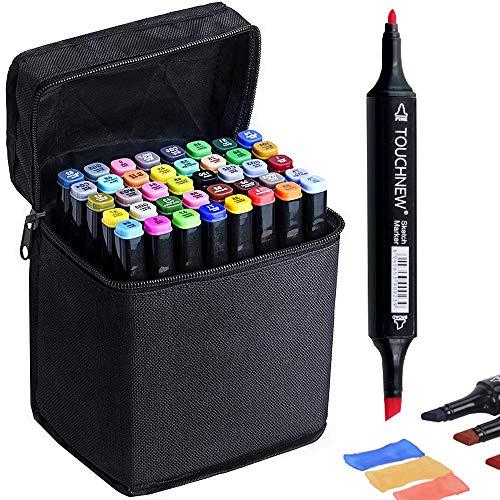 Marker Colori Pennarelli di Doppia Punta - Alcol Inchiostro a Base Penna Pennarello Punto Impostato per Disegnare e Scarabocchiare con Custodia Nera
