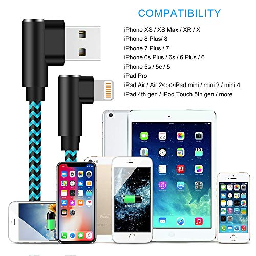 iPhone Charger 90 Degree 10ft 3 Pack Lightning Cable Braided Right Angle Charging Cord Compatible with iPhone iPhone 12 Pro,12 Mini XS Max 8 7 Plus 6 iPad (Blue,10 Foot)