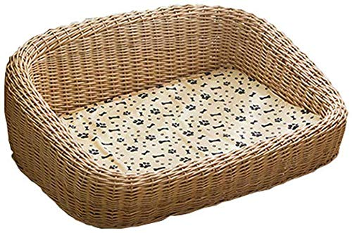 GUIYTQ5R Dog bed Cat bed Pet bed Basket Puppy Dog House Mat Pet Summer Four Season Teddy Supplies Suitable for Small And Medium Dogs Wicker Pet Dog Bed