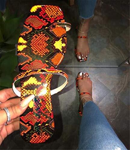 Vrouwen platte sandalen Zomer clip teen slippers Casual slangenprint slippers Strand sandalen