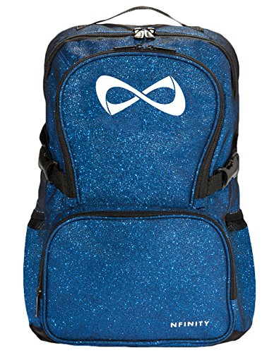 """Nfinity - Sparkle Backpack - Girls Glitter Bookbag - Perfect Bag for Travel, School, Gym, & Cheer Practices - 15"""" Laptop Compartment - Royal Blue with White Logo"""