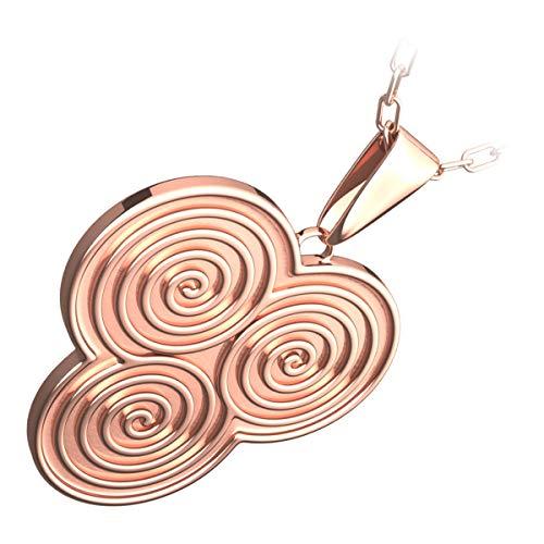 GWG Jewellery Collane Donna Regalo Collana Placcata Oro Rosa 18K Pendente Triskelion Disegno a Tripla Spirale Celtica, a Doppia Faccia per Donne