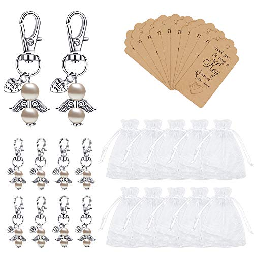 Lucky Memorial Keyring Wedding Party Gift Keychains, 10 Pieces Guardian Angel Pendant Keychains Crafts Supplies with Tags, Small Organza Bags for Christmas, Wedding Favors, Souvenirs, Blue/Pink (Pink)