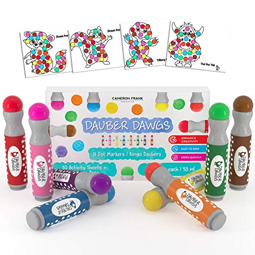 8-pack Washable Dot Markers / Bingo Daubers Dabbers Dauber Dawgs Kids / Toddlers / Preschool / Children Art Supply 3 Pdf Coloring eBooks = 100 Activity Sheets To Do!
