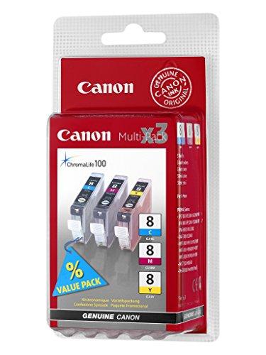 Original Canon 0621B026 / CLI-8 Tinten Multipack (cmy, Inhalt 3 x 13 ml) für Pixma IP 3300, IP 3500, IP 4200, IP 4300, IP 4500, IP 5200, IP 5300, IP 6600, IP 6700, IX 4000, IX 5000, MP 500, MP 510, MP 520, MP 530, MP 600, MP 610, MP 800, MP 810, MP 830, MP 970, MX 700, MX 850, Pro 9000