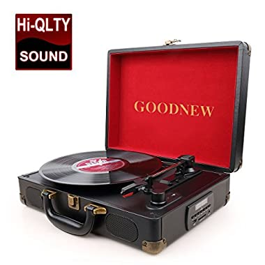 GOODNEW vinyl record player Turntable, Built in Speakers, Support Headphone & RCA Output and AUX (3.5mm) input Jack (Record player-FBA)