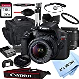 Canon EOS Rebel T7 DSLR Camera with 18-55mm f/3.5-5.6 Zoom Lens + 32GB Card, Tripod, Case, and More (18pc Bundle)