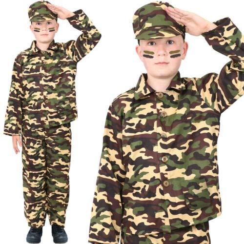 I LOVE FANCY DRESS LTD Jungen Armee KOSTÜM Outfit Soldat KOSTÜM Kinder MILITÄR UNIFORM 3 STÜCK (X-GROẞ)