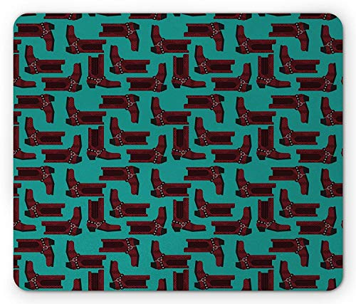 Drempad Gaming Mauspads, Western Mouse Pad, Cartoon Style Cowboy Boots Pattern Western Clothing and Rodeo Concept, Rectangle Non-Slip Rubber Mousepad, Burgundy and Turquoise 9.8 X 11.8 INCH