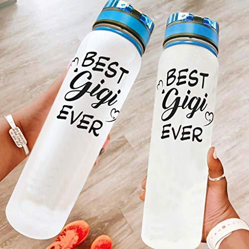 BBOOUAG Best Gigi Ever Botella de agua deportiva de 32 onzas para lavavajillas, seguro para acampar, botella de deporte, botella de natación, el mejor regalo para amado blanco 1000 ml