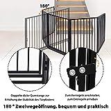 UISEBRT Kaminschutzgitter Baby 305cm - Stabil Faltbar Kinderschutzgitter mit Tür Schwarz Ofenschutzgitter Schutzgitter Laufgitter Türschutzgitter aus 5 element - 3