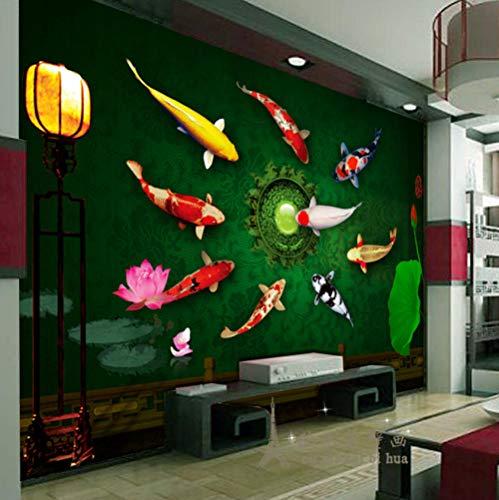 Pbbzl Aangepaste Wallpaper 3D Moderne Chinese Koi Rijke Behang Em Achtergrond Muur Slaapkamer Woonkamer Behang 350 x 250 cm.