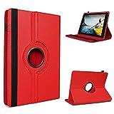 UC-Express Schutzhülle kompatibel für Medion Lifetab E6912 Tablet Tasche Hülle mit Standfunktion 360° drehbar Tablethülle Hülle, Farben:Rot