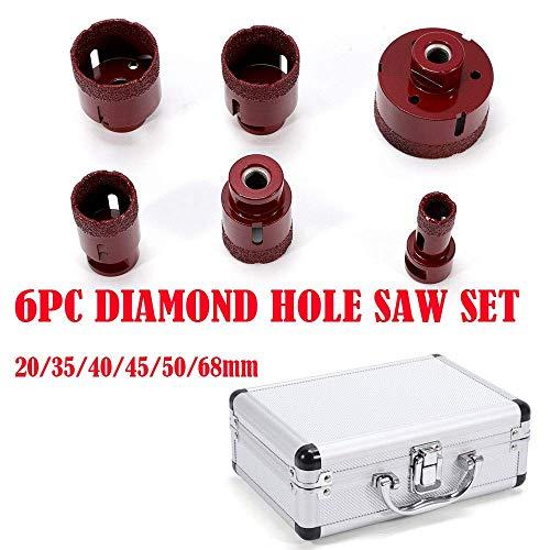 Relaxbx Rode Editie Diamant Tegel Boor Set Diamant Tegel Boren 6 Stukken M14 voor Hoek Grinder Tegels Graniet Porselein Steengoed Tegel Boor Diameter 20-68 mm