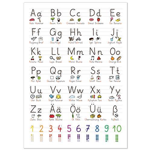 kizibi® XL Grundschrift Poster für Kinder (GS), Grundschule Lernposter DIN A2 mit Übungsblatt, Schreiben Lernen | beliebt im Kindergarten, Vorschule, Grundschule | inklusive Übungsblatt