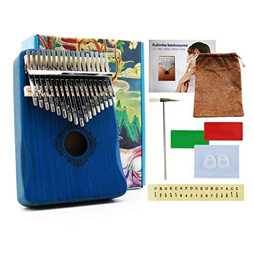 Auroal Thumb Piano 17 Key, Finger Piano, Gift For Kids Adult Beginners Professional(Blue)