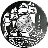 Barcelona - Reloj de pared de vinilo, diseño retro