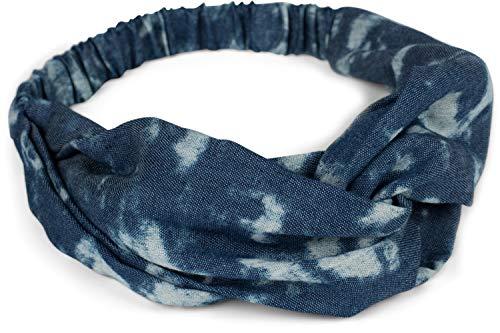 styleBREAKER Dames jeans haarband in batik gebleekte stijl, twist knoop en elastiek, hoofdband, hoofdband, retro look 04026049, Farbe:Donkerblauw