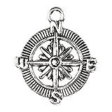 20 piezas brújula colgante, ancla náutica Steampunk aleación accesorios de joyería pulsera materiales de bricolaje
