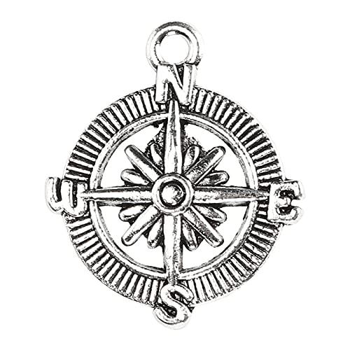 Tnfeeon 20 Piezas brújula Colgante Serie náutica medallón Colgante Collar Ancla aleación joyería Pulsera para Mujeres Hombres niñas