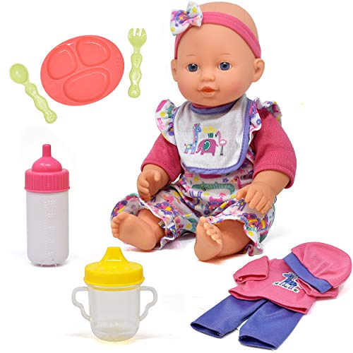 Baby Doll Clothes and Accessories Set  Playset Includes 12 Inch Doll Feeding Plate Utensils Bottle Sippy Cup Bib and 2 Outfits  12 Piece Gift Set for Kids Toddlers Girls Boys