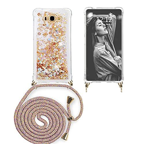 Ptny Funda Glitter Liquida con Cuerda para Samsung J7 2016, Brillante Cristal...