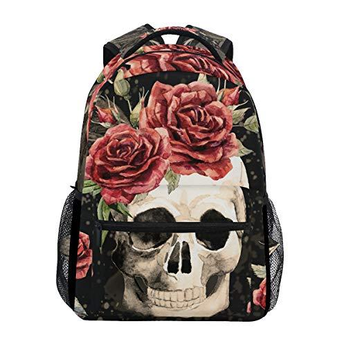 Hunihuni Watercolor Gothic Skull Rose Durable Backpack College School Book Shoulder Bag Daypack for Boys Girls Man Woman