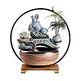 YCSX Fuente Interior Fuente de la Mesa de cerámica Cubierta - Estilo Chino Creativo Que Fluye Adornos de Agua circulante Agua y Feng Shui Fountain con Luces led Mueble Acuario