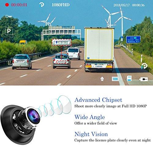 【2021 Version】CHORTAU Spiegel Dashcam 4,8 Zoll Touch Screen Full HD 1080P, Weitwinkel Frontkamera und wasserdichte Rückfahrkamera, Auto Kamera mit Notrufaufzeichnung, Reverse Monitor System