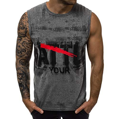 ZHANSANFM Herren Tanktop Tank Top Tankshirt mit Motiv Aufdruck T-Shirt Unterhemden Ärmellos Weste Muskelshirt Modern Freizeit Fitness D-024 L Grau