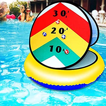 Board Games for Pool Pool Float Kids Toys with 6 Sticky Balls Darts Board Set with Swim Rings Classic Toy Gift for Teens Adults Indoor Throwing Practice Games Party Favor Beach Games 24 Inches