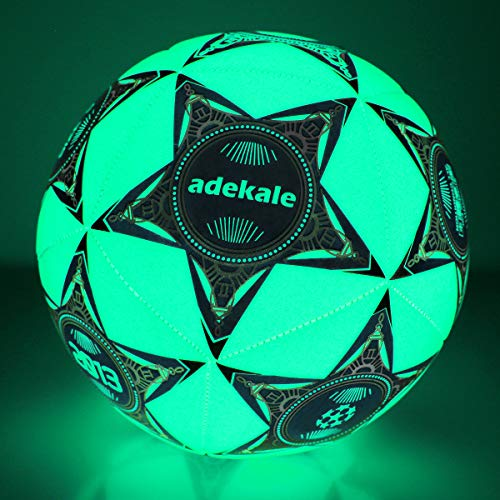 Adekale Balones de fútbol Tradicionales Balones de fútbol iluminados Brillan en la Oscuridad Balón de fútbol Balones de fútbol para jóvenes y Adultos para Juegos nocturnos -Tamaño 5 - Tamaño Oficial
