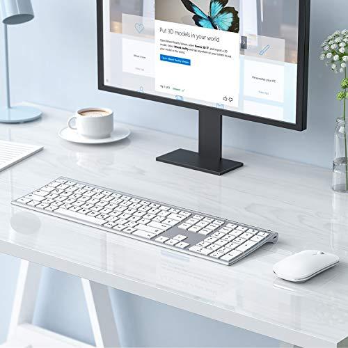 Jelly Comb Kabellose Tastatur und Maus Set, 2.4G Wireless Ultra Dünn Tastatur und Flache Maus, Wiederaufladbare Funktastatur mit Deutschem Layout für PC, Laptop, Smart TV, Weiß und Silber
