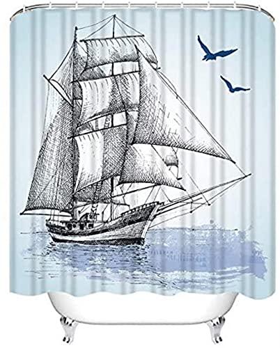 JZDH Duschvorhänge Sets Moderne Duschvorhang Ornament Italienischer Cyan Duschvorhang Wasserdichter Stoff für Badezimmer Dekor Duschvorhänge Set mit Haken 180x180cm (71x71in)