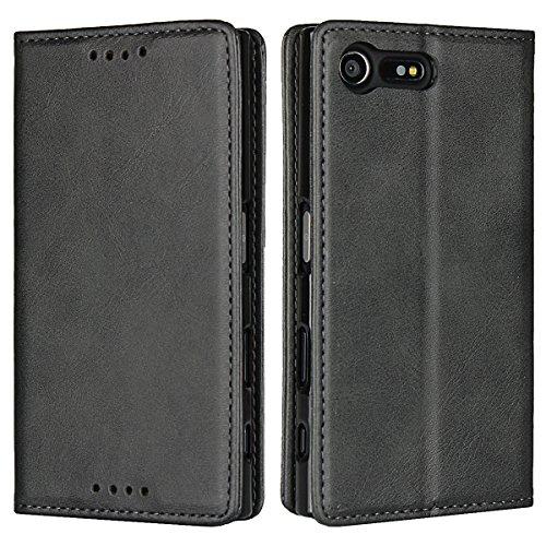 Copmob Sony Xperia X Compact hülle,Premium Flip Leder Geldbörse mit weichem TPU-Shock Absorption,[3 Kartensteckplatz][Ständerfunktion][Magnetschnalle] - Schwarz